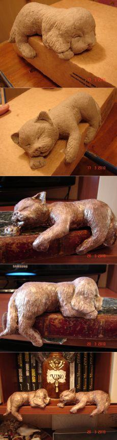 Работы из бумаги: кот и пёс (папье маше) » ProstoDelkino.com - поделки своими руками.