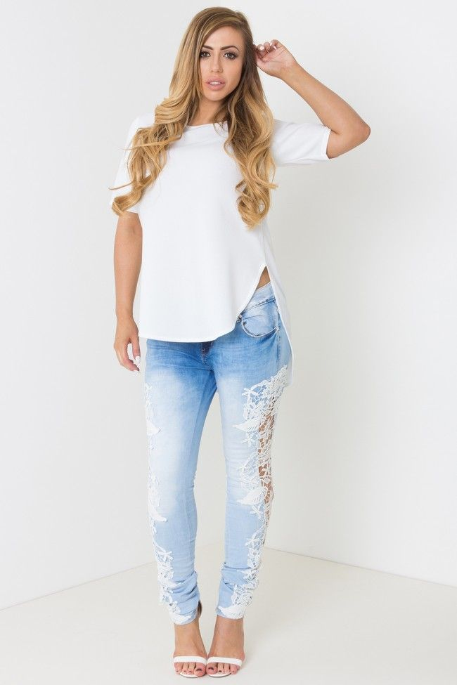 Love In Lace Low Rise Lace Cutout Jeans Holly Hagan