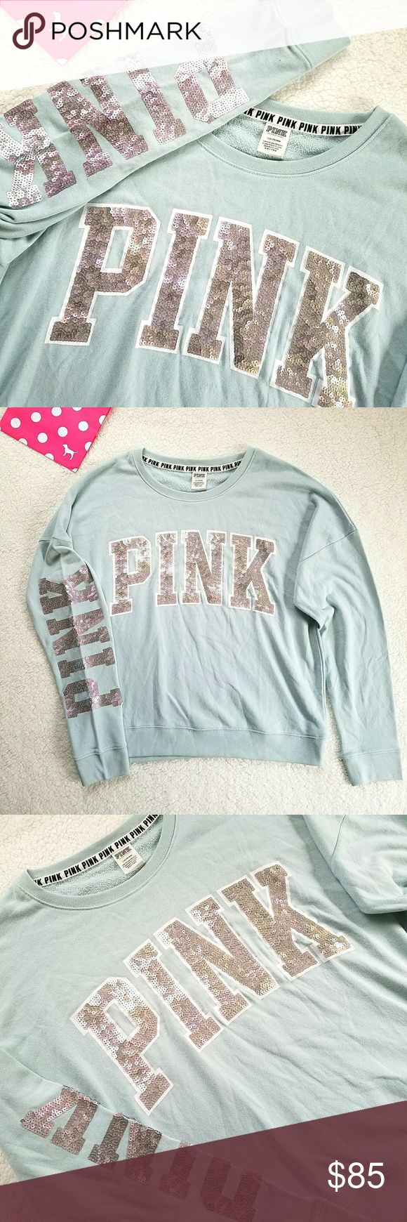 Victoria's Secret PINK Bling Campus Crew Pullover Iridescent Bling Mint Pullover Campus Crew Sweatshirt by Victoria's Secret PINK Size large Brand new without tag nwot  Soft mint color Terry cloth Bling logos on chest & arm Incredibly unusual matte iridescent sequins, see close up pictures to see the holographic color-shift effect Mix and match with your neutral leggings, yogas, jeans, joggers, sweatpants, and shorts! PINK Victoria's Secret Tops Sweatshirts & Hoodies