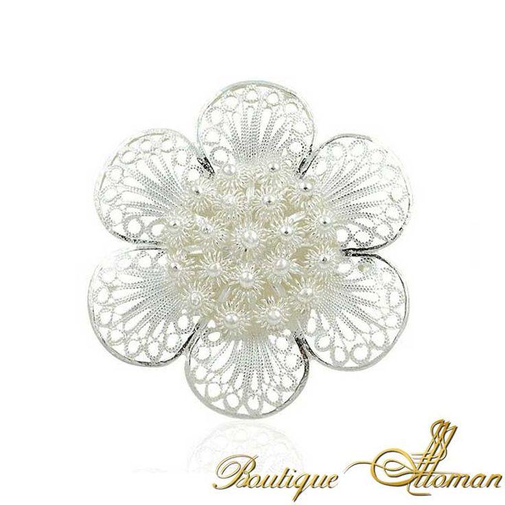 Silver Fligree Daisy Brooch - Ottoman Silver Jewelry #brooch #brooches #silverbrooches #jewelry #clothesjewelry