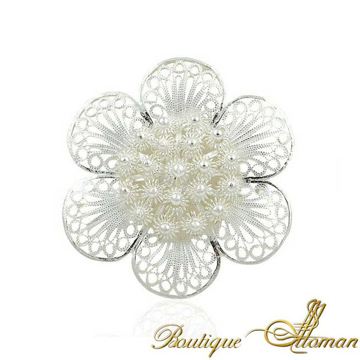 Silver Fligree Daisy Brooch - Ottoman Silver Jewelry #brooch #brooches #silverbrooches #jewelry #clothesjewelry