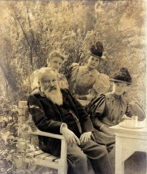Composer Johannes Brahms with Marie Soldat (left) and two other ladies c. 1890.  Brahms, of course, had won worldly acclaim with his beautiful compositions, & Marie Soldat was a violin master and virtuoso active in orchestral and chamber music in the Vienna of the late nineteenth and early twentieth century.
