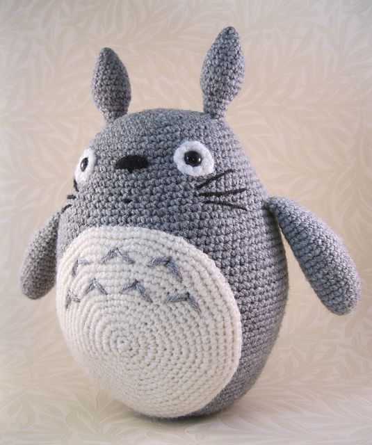 "Crochet ""Totoro"" free pattern by Lucy Ravenscar.  Amigurumi (type of stuffed, crocheted toy).  If you have not seen ""My Neighbor, Totoro"", you're missing out!"
