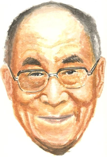 Dalai Lama Watercolor Portrait