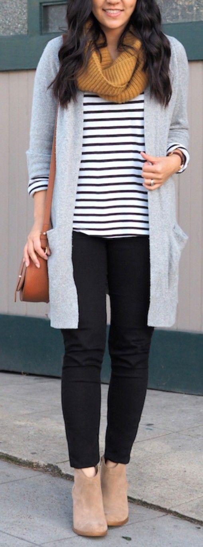 Striped shirt, gray cardigan, mustard scarf, black pants, brown shoes.