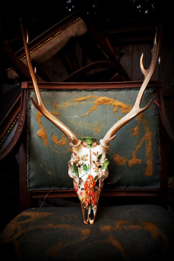 Fallow Deer Skull // Garden // Fully Collaged Skull - this is beautiful, but i think i can do it on my own