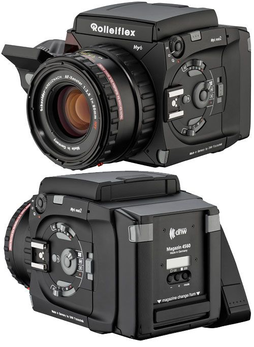 The Rolleiflex Hy6, a medium format camera that can be used with both film and digital backs.