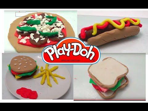 Play doh Burger cheeseburger and fries, pizza, hot-dog and sandwich. DIY...