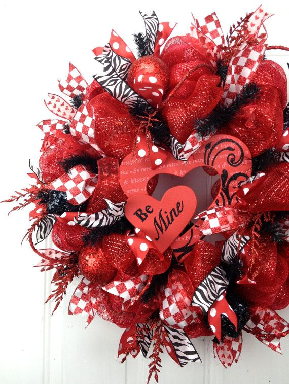 Deco Mesh Valentine Wreath Red White Black by SouthernCharmWreaths