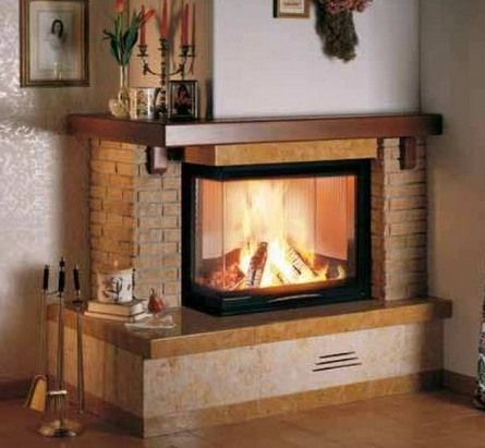Two sided brick corner fireplace village dessign family for L shaped living room with fireplace