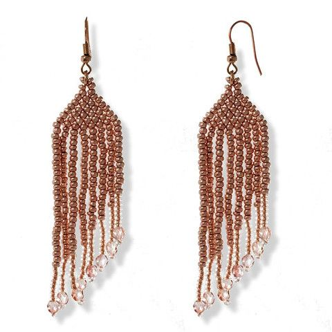 Handmade Beaded Golden Shimmering Long Earrings