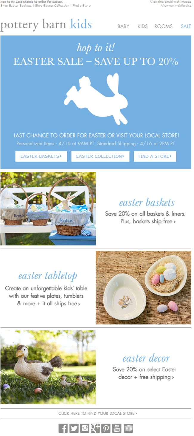 Potter Barn Kids Easter newsletter, email design www.datemailman.com