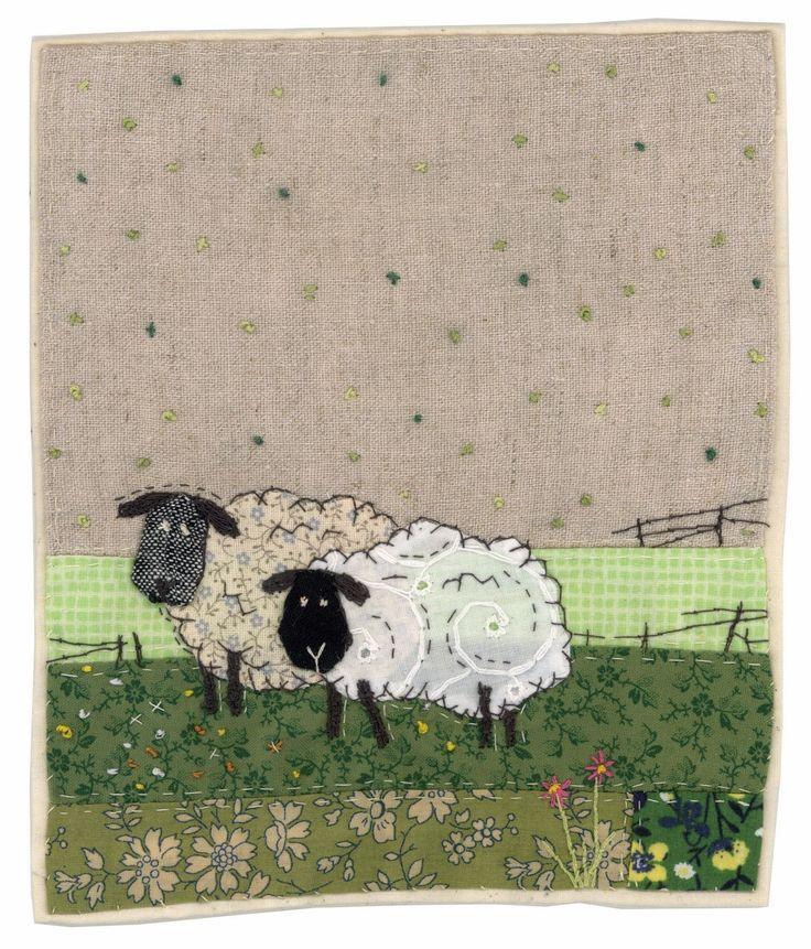 """Spring is Nearly Here"",  made entirely by hand using recycled textiles by Sharon Blackman of Chelmsford, Essex in the East of England.  She says she has ""a quirky naive style, never using patterns or templates, and cutting directly into the fabric and stitching everything by hand""."