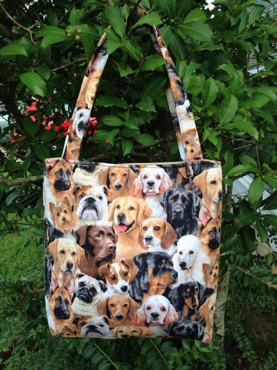 Handmade Dogs Allover, Fabric Purse, Handbag, Shoulder Bag, Lunch Bag, Bag for Toys/Clothes, Diaper Bag, Gifts, Novelty Purse,Theme Purse