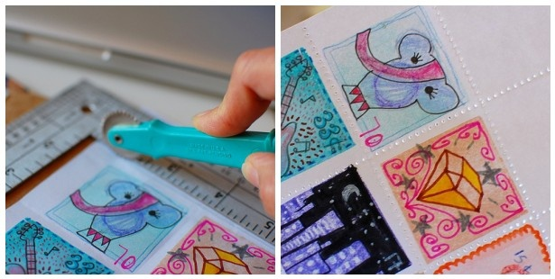 Make-your-own old fashion stamps.  Brilliant!