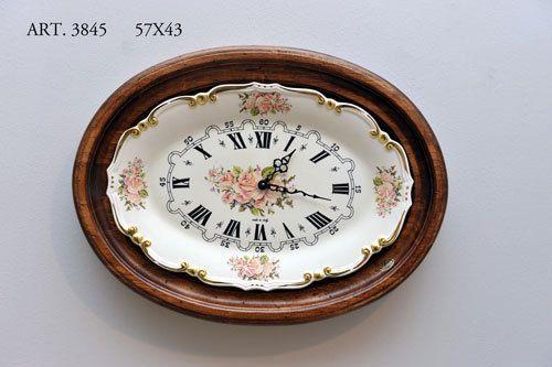 Orologio da Parete In Legno Artigianale da Muro Numeri Romani Ceramica 3845