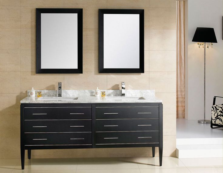 Elegant At Adornus Camile 60 Inch Modern Discount Double Sink Bathroom Vanity Black  Finish, Ceramic Top