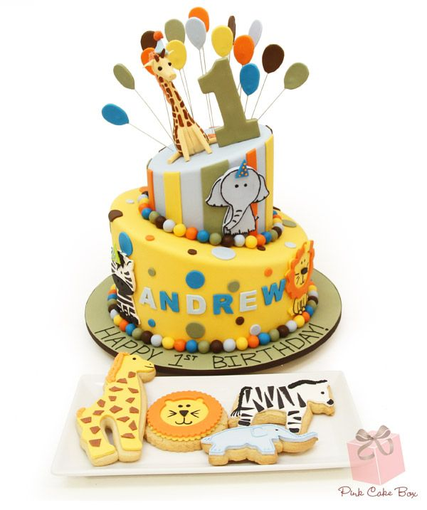 Andrew's 1st Birthday Animal Themed Cake with Animal themed cookies!  #cake #First #Birthday