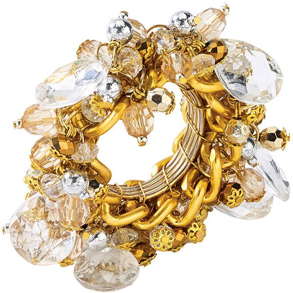 Kim Seybert Versailles Napkin Ring - Gold/Crystal found on Polyvore featuring polyvore, home, kitchen & dining, napkin rings, gold napkin rings, kim seybert, gold beaded napkin rings, beaded napkin rings and crystal napkin rings