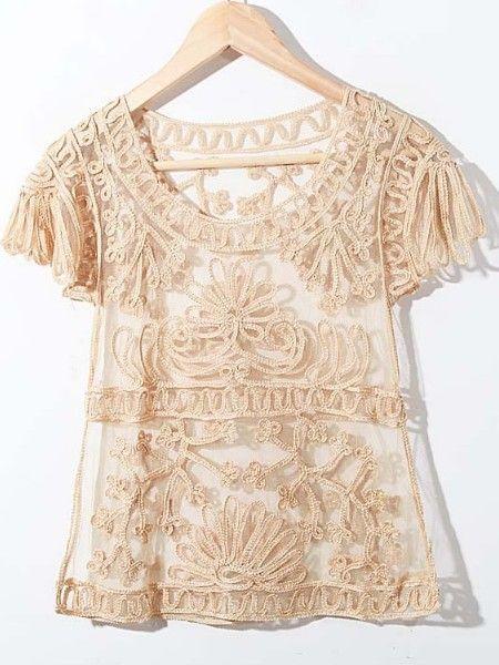Yelllow Crochet Lace Embroidery Short Sleeve Chiffon Blouse