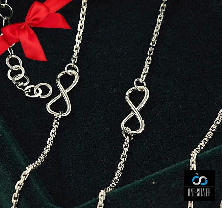 KOMPLET INFINITY nieskończoność SREBRO pr 925 -50% www.one-silver.pl