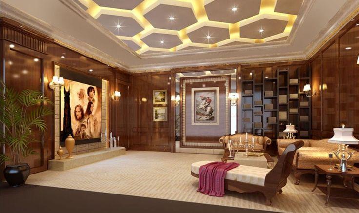 Ceiling Design Ideas -- Luxury ceiling with custom lighting