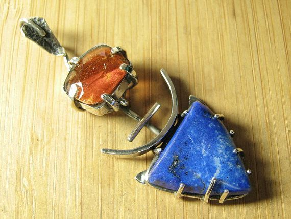 Sterling Silver Sunstone and Lapis Lazuli Deva by CreativeEddy