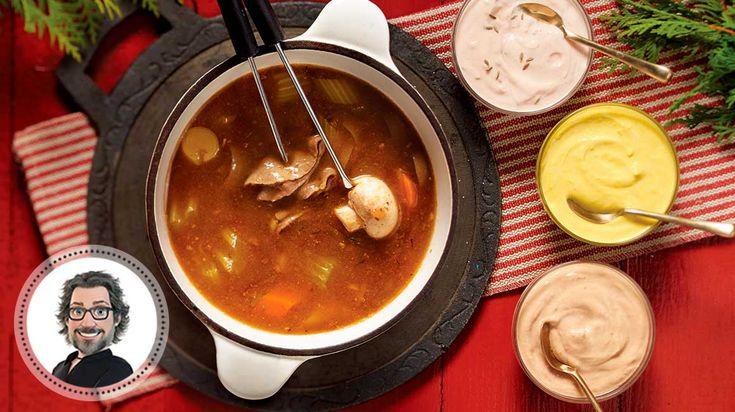 Bouillon à fondue maison et trio de sauces de Christian Bégin