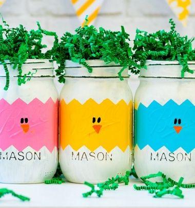 DIY mason jar chick and Easter egg vases // Húsvéti tojások és csibék befőttes üvegből - kreatív ajándék // Mindy - craft tutorial collection
