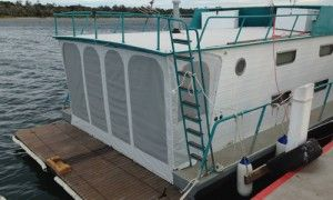 Stamoid Stern Enclosure creates privacy. Great for a boat cover