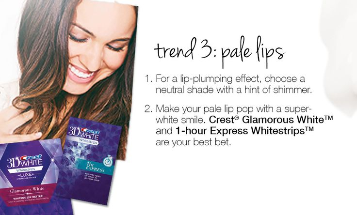 Trend 3: pale lips. 1. For a lip-plumping effect, choose a neutral shade with a hint of shimmer. 2. Make your pale lip pop with a super- white smile. Crest® Glamorous White™ and 1-hour Express Whitestrips™ are your best bet.