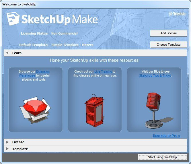SketchUp Make by Trimble Navigation - http://www.cesdb.com/sketchup-make.html - Sketchup Make, introduced in May 2013, is a free-of-charge version of SketchUp Pro for home, personal, and educational use. - #architectural #cad #layout #civilengineering