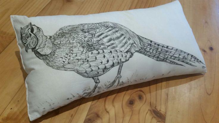 Pheasant hand drawn cushion