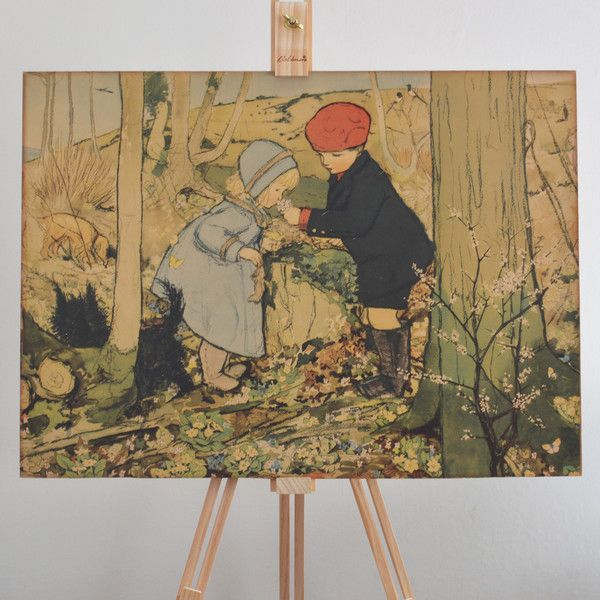 A sweet little vintage print, perfect for a child's bedroom.