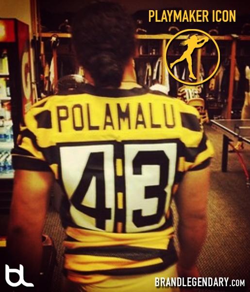 Troy Polamalu in the Retro Pittsburgh Steelers Jerseys.