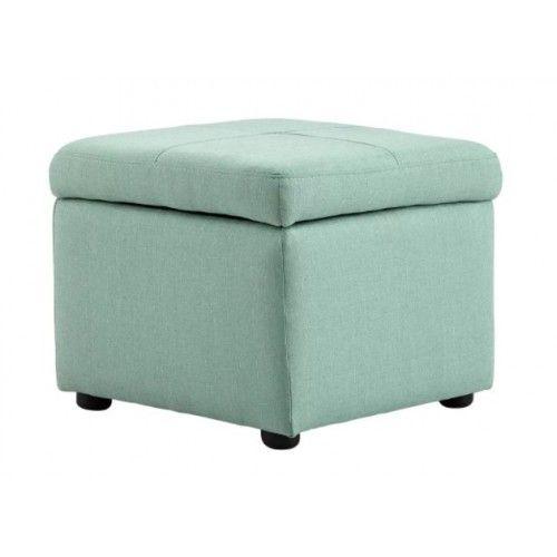 Sea Foam Fabric Square Storage Ottoman Footstool