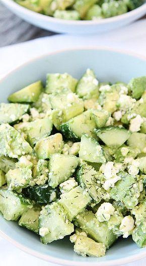 Cucumber, avocado, and feta salad.