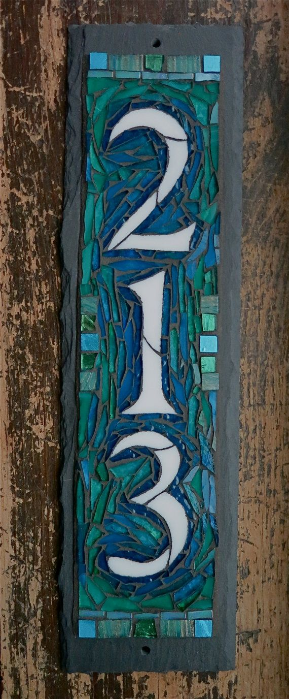 Blue Green Teal Tones Vertical Mosaic House Number on Slate 3 digit  4x15 inches,  nutmegdesigns
