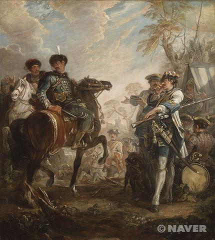 파로셀은 루이 14세를 위해 베르사이유 궁전 및 마를리 궁에서 일했던 화가 조제프 파로셀의 아들이었으며, 화가가 되기 전에 군에서 복무했던 경험을 살려 전쟁화를 전문적으로 그리게 되었다. 왕세자의 방을 장식할 작품을 주문받았던 1744년에 그는 전쟁을 주제로 하는 또 다른 작품 의뢰를 받게 되었다. 루이 15세가 고모인 콩티 공주가 세상을 떠난 후 그녀의 소유였던 슈아지 성을 사들이면서 성의 실내를 새롭게 장식할 작품들을 주문했던 것이다. 새로운 실내장식에 쓰일 그림들을 그에게 주문했던 것이다. 이렇게 해서 제작된 이 두 작품은 전쟁터의 야영지와 말들을 훌륭히 표현해 내는 파로셀의 솜씨를 여실히 보여주고 있다.