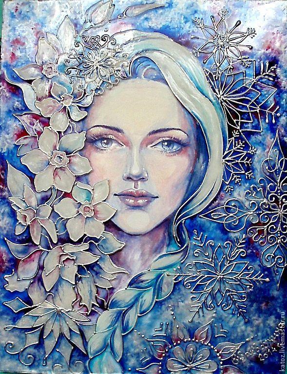 """Купить Картина """"Снежная... Милая... Нежная..."""" - синий, девушка, цветы, картина, подарок, снежная"""