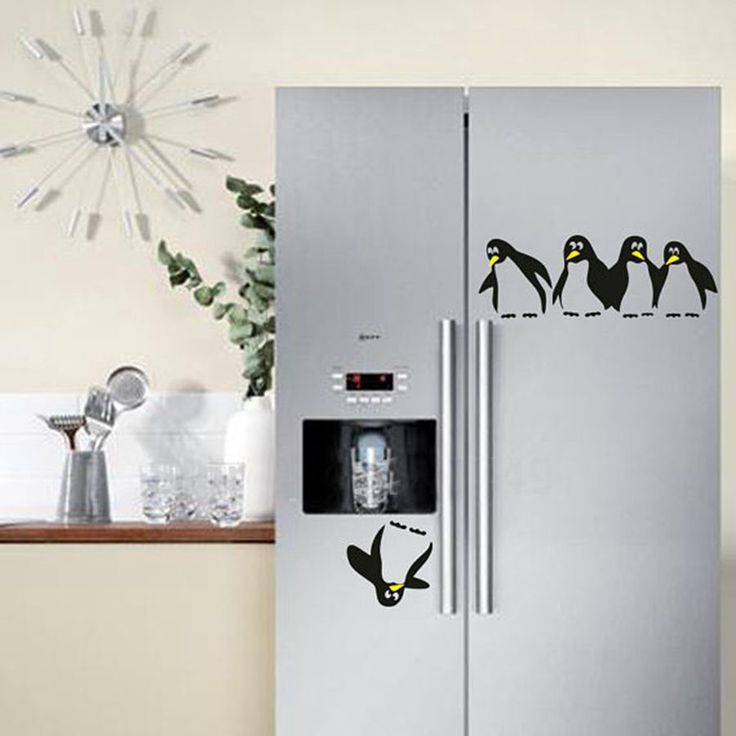 Free shipping! funny penguin kitchen fridge sticker fridge decals dining room kitchen decorative wall stickers home decor