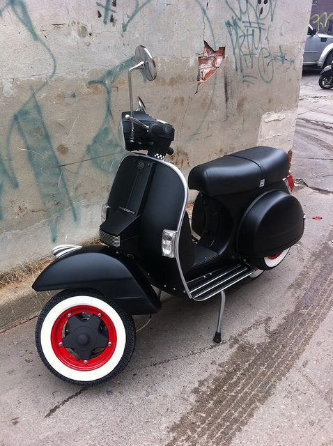 Flat Black Vespa Motor Scooter - Red Rims & Whitewalls...: