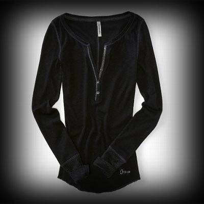 Aeropostale レディース Tシャツ エアロポステール Long Sleeve Solid Shimmer Henley ニット Tシャツ-アバクロ 通販 ショップ-【I.T.SHOP】 #ITShop