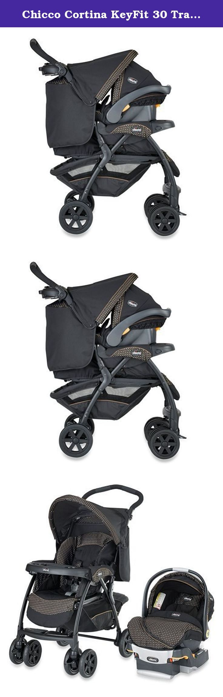 """Chicco Cortina KeyFit 30 Travel System in Minerale Set. •Stroller also features a multi-position leg rest, reversible canopy and all wheel suspension. •The infant car seat has energy-absorbing foam for improved side-impact protection and a removable newborn insert for smaller babies. •The thickly cushioned seat pad and 5-point harness provide maximum comfort. •Car seat also features a spring-assisted level foot, bubble levels and """"Center-Pull"""" adjustment for easiest installation. •Large…"""