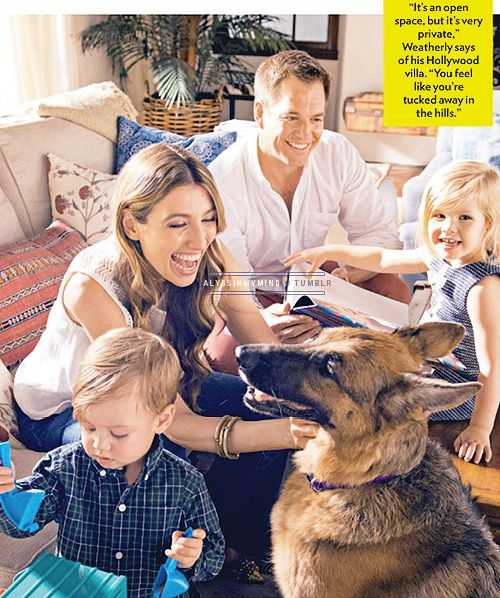 Michael Weatherly and family (People Magazine, April 2015)