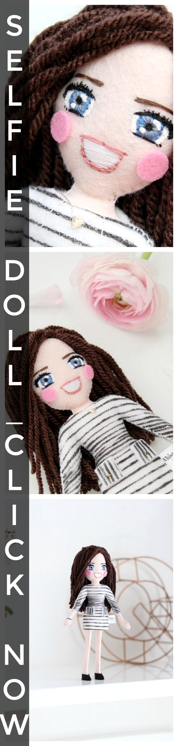 personalised selfie art dolls capture the unique you in more than just a 'click'.  Mini versions of individual you, hand-stitched and hand-painted, to keep forever or to gift.  Colourful, fun, creative, and definitely one-of-a-kind.