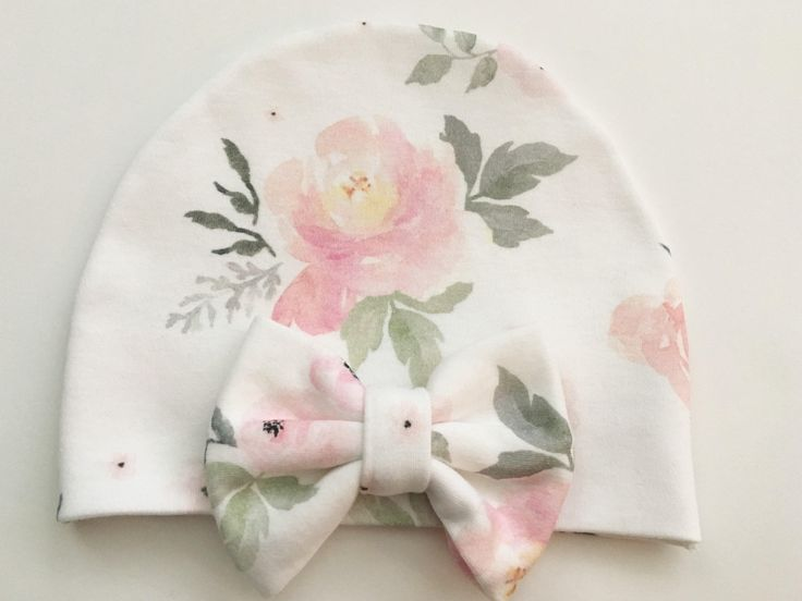 Baby Girl Organic Pink Floral Watercolor Newborn Bow Hospital Hat Beanie / Baby Bow Hat