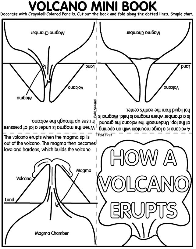 How a Volcano Erupts mini book from Crayola.com.  This site has fun printouts for many subjects. #earthscience