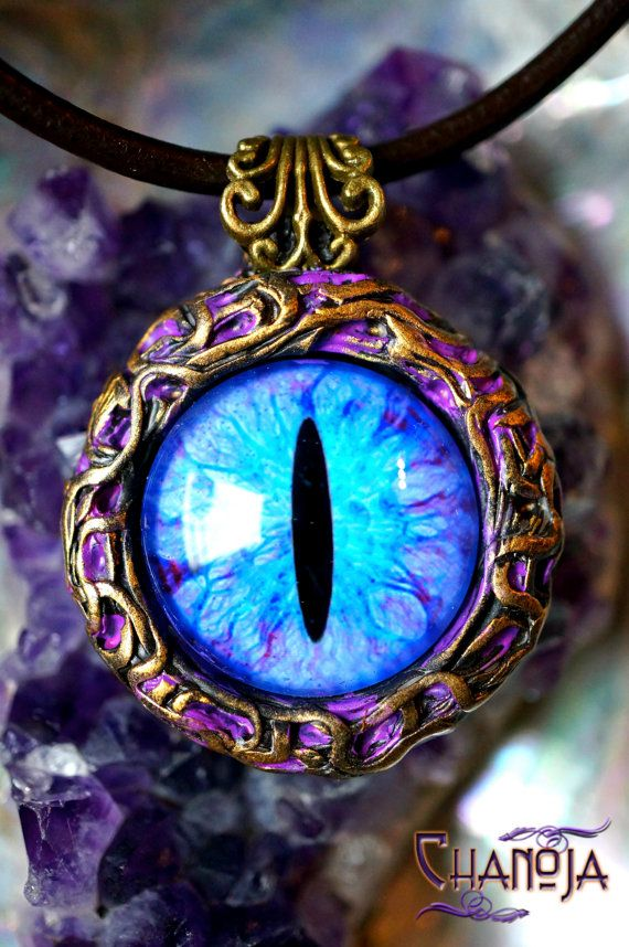 Blue Dragon Eye 2 Pendant-dragon eye jewelry by ChaNoJaJewelry. Dragon Eye Pendant Fantasy Jewelry Fairy Art.  Blue Dragon Eye Pendant - This is a truly extraordinary piece of wearable art! I felt like playing with patina colors to give it a mystical touch. I featured a gorgeous blue and purple glass eye with a slit pupil. Pure Magic!