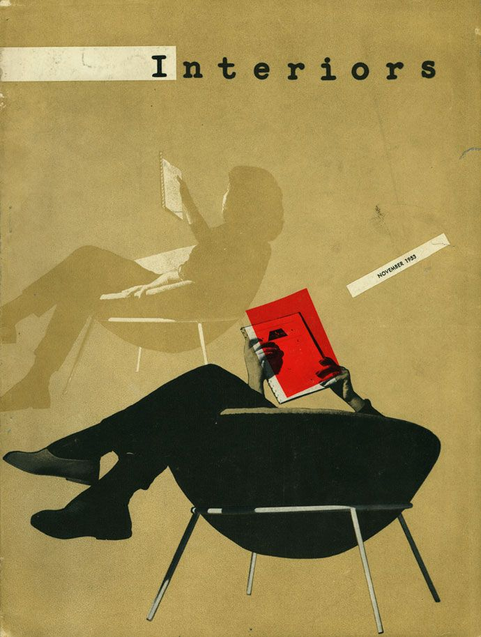 Interiors magazine design by Aldo Giurgola, 1953 - with chair of Lina Bardi!